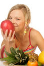 Woman with tropical fruits Royalty Free Stock Photography