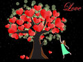 Woman try to catch the heart on tree of love vector graphic Royalty Free Stock Images