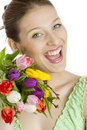 Woman with tulips Royalty Free Stock Photos