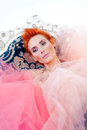 Woman in tulle Royalty Free Stock Images