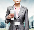 Woman with a tumbler of coffee business Royalty Free Stock Image