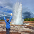 Woman - turist delighted geyser Royalty Free Stock Photo