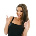 Woman with two thumbs up photo of an excited young female doing the gesture over white background Stock Photos