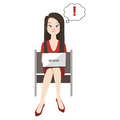 Woman with ultrabook vector illustration Stock Image