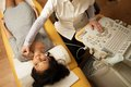 Woman at ultrasound examination young doing neck hospital Stock Photo