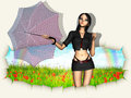 Woman with umbrella going out of wall d red hole in paper reveal grass field Royalty Free Stock Photography