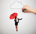 Woman with umbrella under rain big hand drawing clouds drops smiley businesswoman red standing and looking up over light grey Royalty Free Stock Images