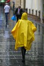 Woman with umbrella walking in rain rush hour Stock Photography