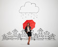 Woman under drawing storm cloud Royalty Free Stock Photo