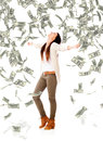 Woman under a money rain Royalty Free Stock Photo