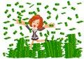 Woman under money rain