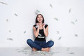 Woman under money rain, lottery jackpot, success Royalty Free Stock Photo