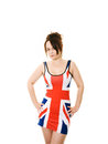 Woman in union jack dress Stock Photos