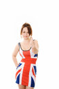 Woman in union jack dress giving a number 1 sign Stock Image