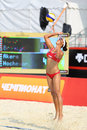 Woman from usa returns ball in country quota moscow june at tournament grand slam of beach volleyball on june moscow russia Royalty Free Stock Photography
