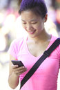 Woman use smartphone young asian at shopping street Stock Photo