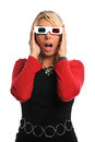 Woman Using 3D glassess Stock Photos