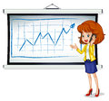 A woman using a cellphone illustration of in front of the whiteboard on white background Stock Photos