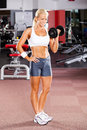 Woman using dumbbell Royalty Free Stock Image