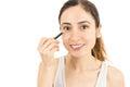 Woman using eyeliner Royalty Free Stock Photo
