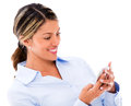 Woman using her smartphone Royalty Free Stock Photography