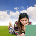 Woman using laptop Royalty Free Stock Image