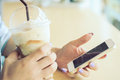 Woman using a smart phone hand touch on screen digital tablet Royalty Free Stock Photos