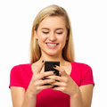 Woman Using Smart Phone Over White Background Royalty Free Stock Photo