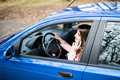 Woman using cellphone while driving car