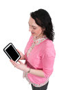 Woman using tablet beautiful technilogically savvy a Royalty Free Stock Photography