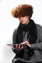 Woman using tablet pc good looking Stock Photo