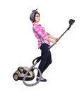 Woman using vacuum cleaner young isolated on white Stock Images