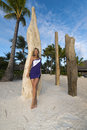 Woman on vacation in bora bora young the beach Royalty Free Stock Photography