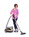 Woman with vacuum cleaner young on a white background Stock Photos