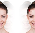 Woman with vampire fangs beautiful isolated on white Stock Photography