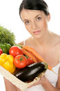 Woman with vegetables Royalty Free Stock Image