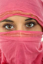 Woman veil young with a close up portrait studio picture Royalty Free Stock Photography
