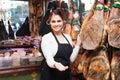 stock image of  Woman vendor offers jamon