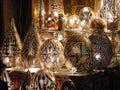 Shining lanterns in khan el khalili souq market with Arabic handwriting on it in egypt cairo Royalty Free Stock Photo