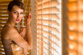 Woman and venetian blind young sexy brunette warm light Stock Photography