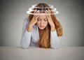 Woman with vertigo. Young female patient suffering from dizziness Royalty Free Stock Photo