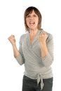 Woman is very angry businesswoman clenching her fists Royalty Free Stock Photography