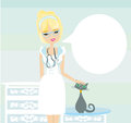 Woman veterinarian treated the cat illustration Royalty Free Stock Photos
