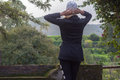 Woman viewing the landscape in countryside Stock Images