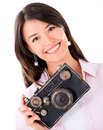 Woman with a vintage camera beautiful isolated over white background Royalty Free Stock Photography