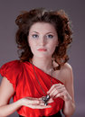 Woman in vintage red dress Stock Image