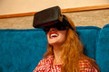 Woman in virtual reality helmet Royalty Free Stock Photo
