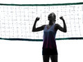 Woman volleyball players isolated silhouette Royalty Free Stock Photo