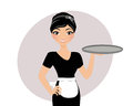 Woman waitress with tray