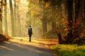 Mujer en otoño bosque